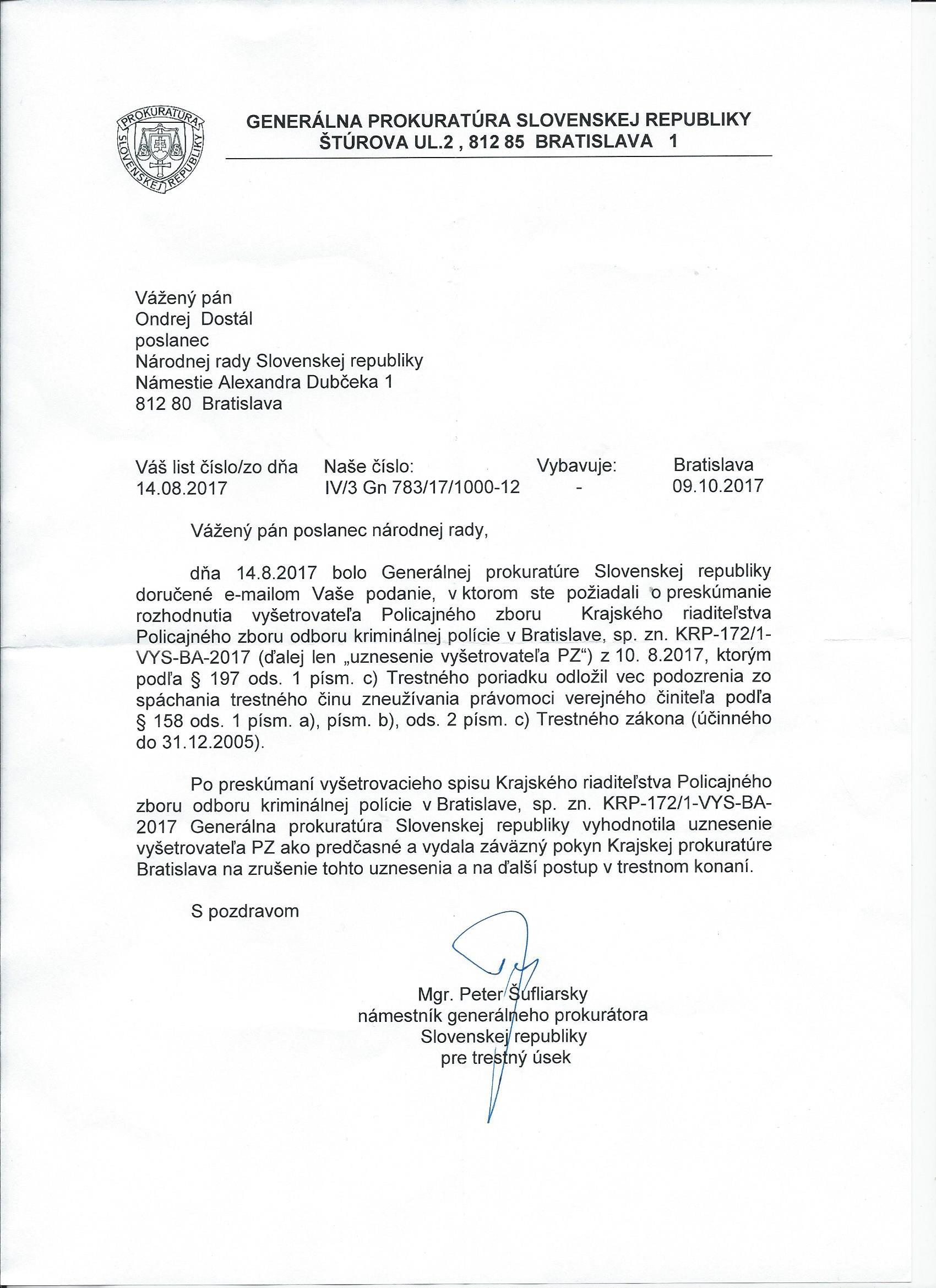 GP OD VM odpoved 171009